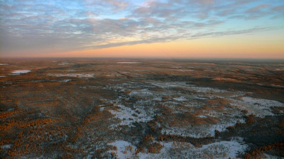 Northern Alberta can be bleak and lonely; it can also be beautiful at sunrise.